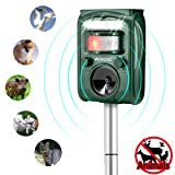 Ultrasonic Pest Repeller,Wikoo Solar Powered Waterproof Outdoor Animal Repeller with Ultrasonic Sound and Flashing Light,Activated by Motion - Very Effective for Cats,Dogs,Squirrels,Moles,Rat (Color: Green)