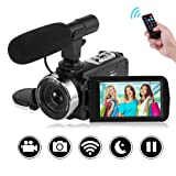 """SEREE Camcorder Full HD 1080P 30FPS Vlogging Camera with Remote Control Wi-Fi IR Night Vision 3"""" LCD Touch Screen Digital Video Camera with External Microphone (Color: V2D)"""