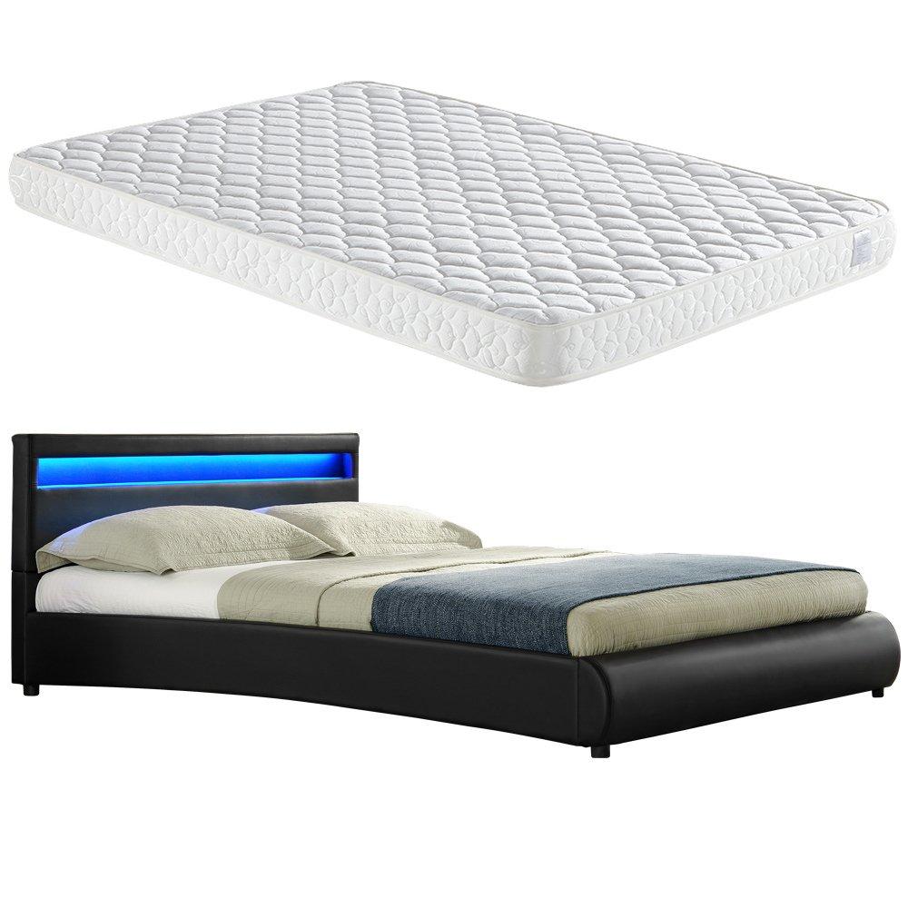 Corium LED Polsterbett 'Miami' mit Matratze (140x200cm)(schwarz)(Kaltschaum) – mit PU-Leder / Kunstlederbezug / RGB – Beleuchtung / mit Lattenrost / kaufen