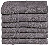 Northpoint Baroque Zero Twist Cotton Washcloths, 13 by 13-Inch, Slate, Set of 6