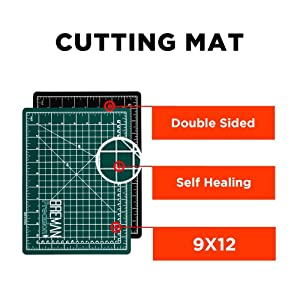 Rotary Cutter with Self Healing Mat &Quilting Ruler –Professional Quilting & Sewing Set (9x12) (Tamaño: 9x12)
