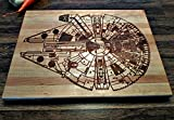 Star Wars Millennium Falcon Blue Print Prints Diagram Kitchen Cutting Board Butcher Block Han Solo Chewbacca