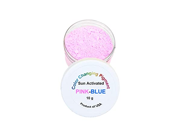 Sun Activated Photochromic Powder Pigment Pink Changing to Violet-Blue When Exposed to UV Light Perfect for Color Changing Slime Goo Nail Polish (Color: Pink-Blue)