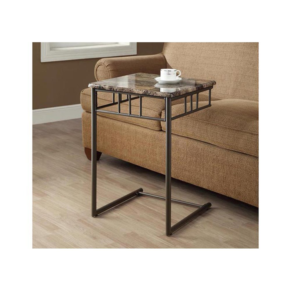 Monarch Specialties Bronze Metal and Cappuccino Marble Snack Sofa Side Table