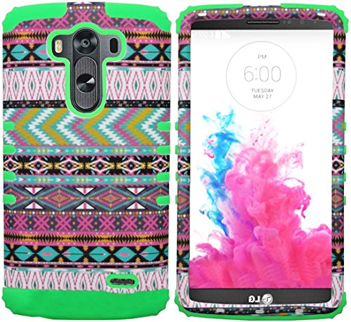 Mylife Electric Green + Eccentric Colors {Wild Aztec Design} Dual Layered 3 Piece Case For The Lg G3 Smartphone (2 Piece Outer Rubberized Snap On Protector Shell + Internal Silicone Secure-Grip Bumper Gel) front-48847