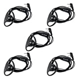 Retevis 2 Way Radio Headset 2 Pin D Shape Walkie Talkies Earpiece with Mic PTT for Baofeng 888S UV-5R Retevis RT21 RT22 H-777S Two-Way Radio(5 Pack) (Color: Black)