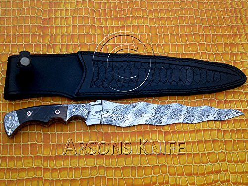 Arsons Knife Full Tang Custom Handmade Damascus Kris Hunting Knife