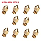 CCTREE 10pcs 0.4mm MK8 Extruder Nozzle for 3D Printer Makerbot Anet A8 Creality CR-10 CR-10S S4 S5 (Color: Gold, Tamaño: 0.4mm)