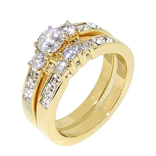 -35ct-CZ-Gold-IP-Stainless-Steel-WOMENS-WEDDING-ENGAGEMENT-RING-SET