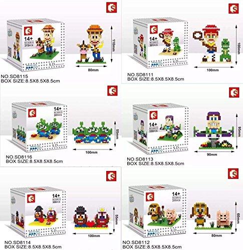 Toy Story Disney Pixar Animation Buzz Lightyear Woody Nanoblock Bricks Lot 6 Set 1838pcs with Original Gift Box Set