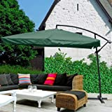 9ft Patio Poolside Beach Offset Square Umbrella Outdoor Furniture Green