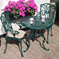 Leisuregrow Norfolk 2 Seater 75cm Round Aluminium Table with Green Armchairs - Metal Garden Furniture Set - 2 Seater Bistro Set - Outdoor Patio Dining Table and Chair Set