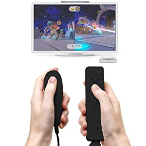 AFUNTA Nunchuck Controllers Compatible Nintendo Wii U, 2 Packs Replacement for WII U Video Game - Black