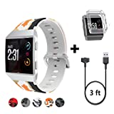 HK For Fitbit Ionic Accessories Charging Cable + Burnt Orange Nylon Watch Bands + Shock Proof Case Cover (Color: orange)