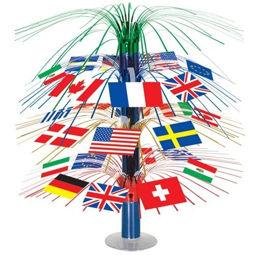 Beistle 50545 International Flag Cascade Centerpiece, 18-Inch
