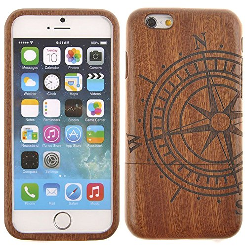 Semoss Hand-made Compass Design Natural Wood Bamboo Case Cover for iPhone 7 Plus Eco-Friendly Protective Bumper Hard Back Shell Case Skin Cover