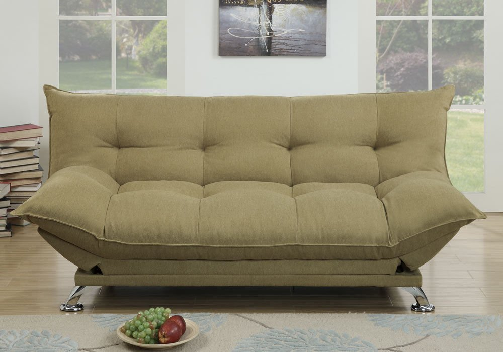 1PerfectChoice Plush Comfort Pillow Style Adjustable Sofa Bed Sleeper Flip Up Arm Willow Green