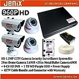 Jenix CCTV HD 960P 1.3MP CCTV Camera Security Surveillance System Kit-JX-HD1W2D2B1P4WL - | (2pcs-Bullet Camera+2pcs-Dome Camera + 4-CH HD DVR + 1 TB WD Surveillance HDD + Power Supply + Wire Bundle & Accessories) -Warranty