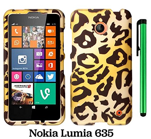 Nokia Lumia 635 (Us Carrier: T-Mobile, Metropcs, And At&T) Premium Pretty Design Protector Cover Case + 1 Of New Assorted Color Metal Stylus Touch Screen Pen (Gold Leopard)