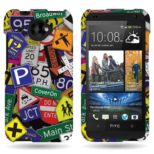 CoverON® Hard Slim Design Case for HTC Desire 601 – with Cover Removal Pry Tool – Traffic Road Street Sign