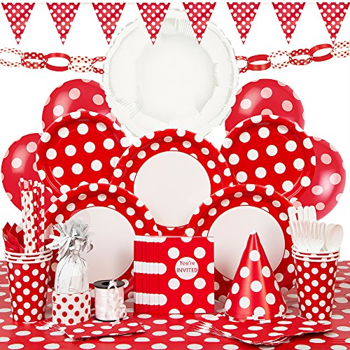 Deluxe Red Polka Dot Party Supplies Kit for 8 (Party Streamers Pack compare prices)
