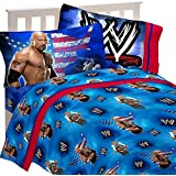 4pc WWE Wrestling Full Bed Sheet Set The Rock Wrestle Mania Bedding