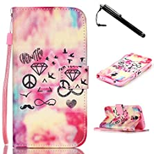 buy Galaxy S5 Case,Samsung Galaxy S5 Case,Unique Symbols Premium Pu Leather Wallet Flip Protective Skin Case With Magnetic Clasp For Galaxy S5 / Galaxy I9600 V(Built-In Credit Card/Id Card Slot)
