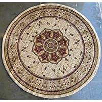 Traditional Round Area Rug Design # 404 Ivory