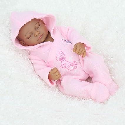 11 pouces Mini Black Cute Alive Nouveau-né Sleeping bébé Fille Poupées Silicone Full Body African American lavable pour fille
