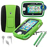 BIRUGEAR Kid-Friendly PU Leather Stand Case W/ Stylus, Headset, Screen Protector for LeapFrog LeapPad3 Kids' Learning Tablet / LeapPad 3 Tablet 2014 (3rd Generation) - Green