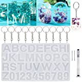 DIY Casting Molds, WEST BAY 13Pcs Number Alphabet Jewelry Resin Casting Molds Letter Jewelry Making Molds Including Manual Hand Drill Keychains DIY Sugar Cake Craft Silicone Casting Molds Set Kit