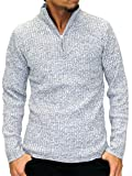 (ルイシャブロン) Louis Chavlon ニット メンズ ハーフジップ セーター 杢 リブ編み 4color M ミディアムグレー