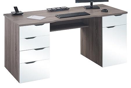 Maja Marlborough Desk - Truffle Oak and High Gloss White