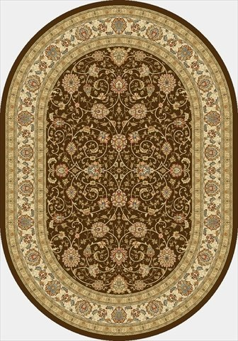 Dynamic Rugs ANOV71057120673 Ancient Garden 6 ft. 7 in. x 9 ft. 6 in. Oval 57120-6737 Rug - Ivory/Chocolate
