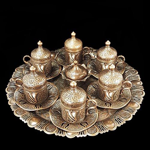 Ottoman Turc en laiton bronze Thé Café soucoupes Tasses Set Plateau-Top Vendeur Britannique _ bronze en laiton Ensemble à thé