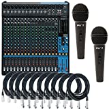 Yamaha MG20XU 20-Input 6 Bus USB Mixer w/ 10 XLR Cables and 2 Microphones