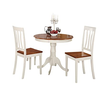 East West Furniture ANTI3-WHI-W 3-Piece Kitchen Nook Dining Table Set, Buttermilk/Cherry Finish