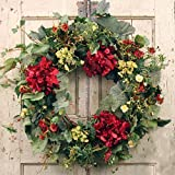 Decorative Burgundy Silk Seasonal Front Door Wreath 22 in - Best Seller - Handcrafted Wreath for Outdoor Display in Fall, Winter, Spring, and Summer
