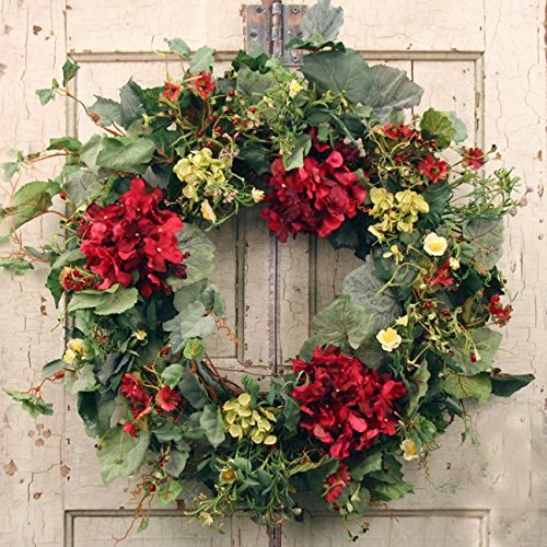 Decorative Burgundy Silk Seasonal Front Door Wreath 22 in - Best Seller - Handcrafted Wreath for Outdoor Display in Fall, Winter, Spring, and Summer (Spring Wreaths Outdoor compare prices)