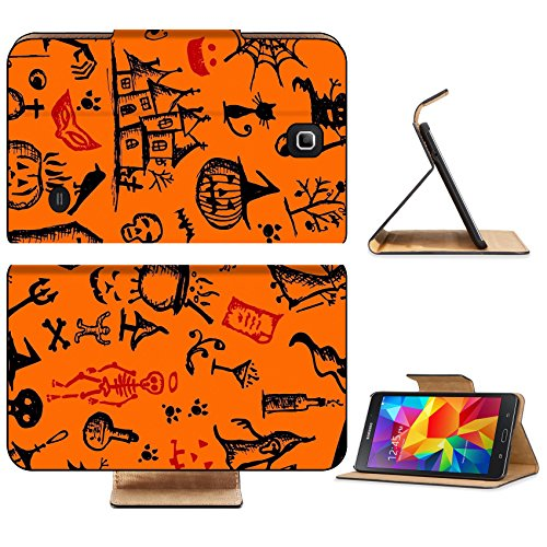 Liili Premium Samsung Galaxy Tab 4 7.0 Inch Flip Wallet Case IMAGE ID: 15478188 Halloween hand drawn pattern for your design