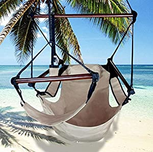 Deluxe Tan Air Chair Hammock Swing Hanging with Pillow & Drink Holder