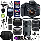 Canon EOS Rebel T5 Digital SLR Camera Body with EF-S 18-55mm IS + EF 75-300mm f 4-5.6 III + Polaroid Studio Series 58mm Wide Angle and 58mm Telephoto Lenses + 40 GB Storage + Polaroid Tripods + 3 Filters + Deluxe Bag + Extra Accessories