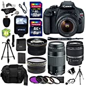 Amazon.com : Canon EOS Rebel T5 Digital SLR Camera Body with EF-S 18-55mm IS + EF 75-300mm f/4-5.6 III + Polaroid Studio Series 58mm Wide Angle and 58mm Telephoto Lenses + 40 GB Storage + Polaroid Tripods + 3 Filters + Deluxe Bag + Extra Accessories : Camera & Photo