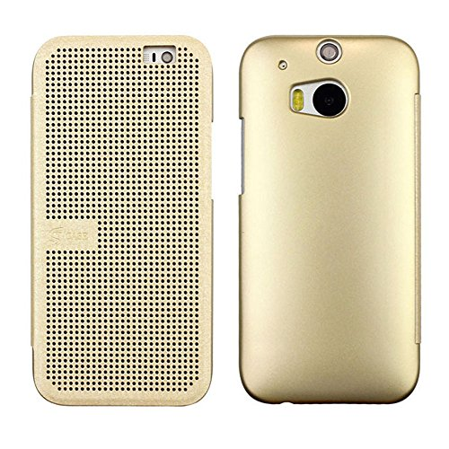 Coromose 1Pc Gold Dot View Flip Leather Case Cover For Htc One 2 M8