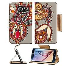 buy Msd Samsung Galaxy S6 Flip Pu Leather Wallet Case Original Digital Draw Line Art Ornate Flower Design Image 26584143
