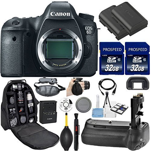 Canon EOS 6D DSLR Camera (Body Only). Kit Includes, 2Pcs 32GB Commander MemoryCard + Battery Grip + Extra Battery + Backpack Case + Grip Strap + Air Blower + Cleaning Kit (Dial Canon 6d compare prices)