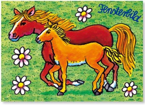 Fensterbild * Pferd mit Fohlen * als Postkarte von LUTZ MAUDER // Fensterbilder Aufkleber Sticker Geschenk Bild Karte Mädchen Pony Pferde
