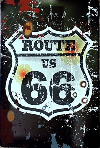 US Old Route 66 Tin Sign 12x8in