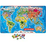 Janod - 4505500 - Puzzle magnétique - Carte du monde en français - 92 pièces - Multicolore