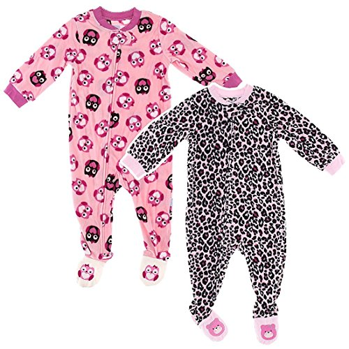 Vitamins Baby Girls 2T-4T Pink Owl & Pink Leopard 2 Pack Toddler Footed Pajamas 4T back-838281